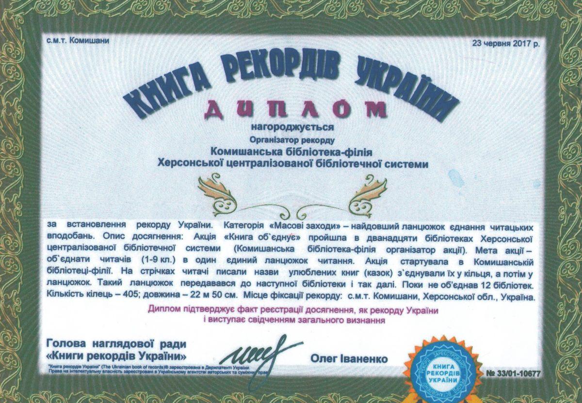 Херсонські бібліотеки потрапили в Книгу рекордів України
